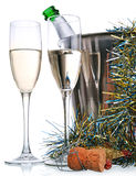 Champagne bottle and wineglasses Stock Photo