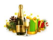Champagne bottle and winter holidays gifts. Isolated on white background Stock Photography