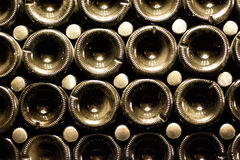 Champagne bottles being kept for secondary fermentation in underground cellar in Abrau-Durso, Novorossiysk Stock Images