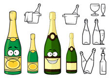 Champagne bottles cartoon characters and icons Stock Images