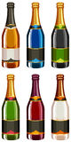 Champagne bottles in different labels Royalty Free Stock Photo