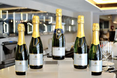 Champagne bottles. Bottles of champagne in an event Royalty Free Stock Photos