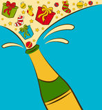 Champagne bottles with gifts. Illustration for a design royalty free illustration