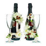 Champagne Bottles with Glass and Wedding Decoration of Flower Ar Royalty Free Stock Photos