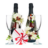 Champagne Bottles with Glass and Wedding Decoration of Flower Ar Stock Photo