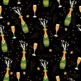 Champagne bottles and glasses vector seamless pattern background. Hand drawn champagne explosion and champagne flutes on black. vector illustration