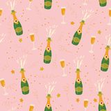 Champagne bottles and glasses vector seamless pattern on pink ba stock illustration