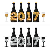 Champagne Bottles with Glittering 2017 Numbers. Champagne Bottles and Glasses with Glittering Gold an Silver 2017 Numbers. Happy New Year Concept. Vector Stock Photos