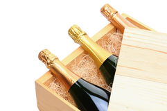 Champagne Bottles In Wooden Crate Royalty Free Stock Photography