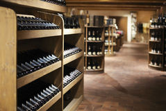 Champagne bottles in wine store Stock Photo