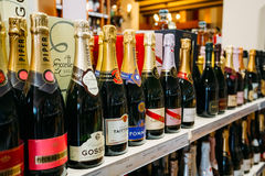 Champagne bottles at the wine store Royalty Free Stock Photography