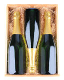 Champagne Bottles in Wood Case Stock Photography