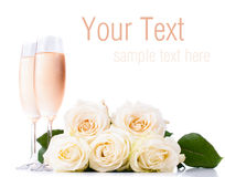 Champagne and a bouquet of roses, ready template Royalty Free Stock Image