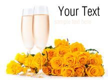 Champagne and a bouquet of roses, ready template Stock Images
