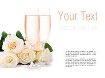 Champagne and a bouquet of roses, ready template Stock Photography
