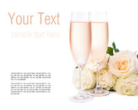 Champagne and a bouquet of roses, ready template Stock Image