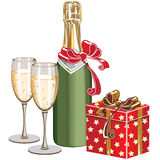 Champagne and box Stock Image