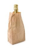 Champagne and brown paper bag Stock Photo