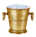 Champagne bucket, full with ice isolated on white Royalty Free Stock Images
