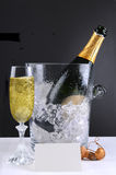 Champagne Bucket and Glass Stock Photo