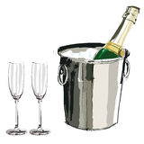 Champagne bucket and glasses Royalty Free Stock Photography