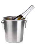 Champagne in bucket. Isolated on white background Royalty Free Stock Photos
