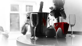 Champagne in bucket waiting for love Couple with fast walking people stock video footage
