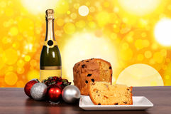 Champagne and cake Stock Images