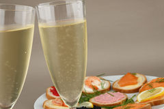 Champagne and canapes Royalty Free Stock Image