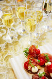 Champagne and canapes Royalty Free Stock Photo