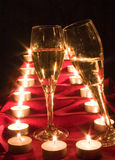 Champagne and candle Stock Photography