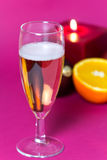 Champagne and Candle Light , a festive decoration Royalty Free Stock Photos