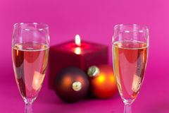 Champagne and Candle Light , a festive decoration Stock Photo