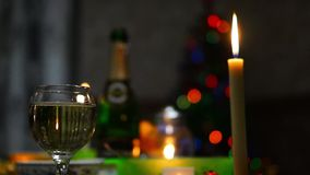 Champagne, candle and romantic night stock video