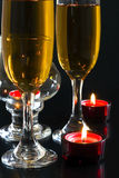 Champagne, candles. Royalty Free Stock Images