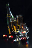 Champagne, candles. Royalty Free Stock Photography