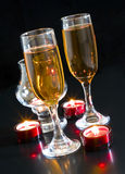 Champagne, candles. Royalty Free Stock Photos