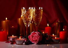 Champagne and candles Stock Image