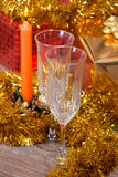 Champagne candles and gifts. Champagne, candles and gifts for Christmas Stock Photos