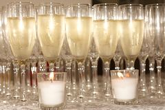 Champagne and Candles Royalty Free Stock Photos