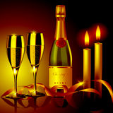 Champagne and candles. Romantic evening. Champagne glasses and candles. Vector illustration Stock Image