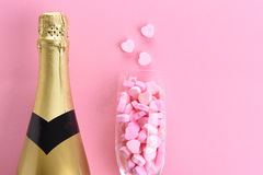 Champagne and Candy Hearts Royalty Free Stock Photography