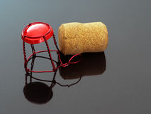 Champagne, cava sparkling wine top, cork. Red. Stock Photography
