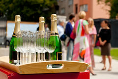 Champagne & celebration. Champagne ready to be served at the celebration stock images