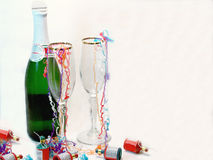 Champagne Celebration. Photo of champagne glasses & party favors Stock Photos