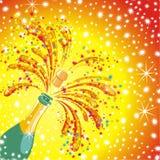 Champagne celebration background. Vector. Champagne celebration. Open champagne bottle Stock Photography