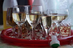 Champagne. Celebration completed drinking glasses of champagne Stock Photo