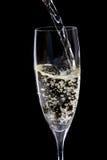 Champagne che è versata in un vetro Fotografia Stock