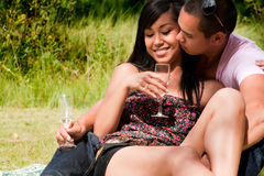 champagne che gode del vetro Immagini Stock