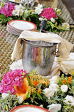 Champagne chilling in a silver ice bucket Stock Image